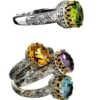 Solid 18K Gold & Silver Medieval-Byzantine Solitaire Ring