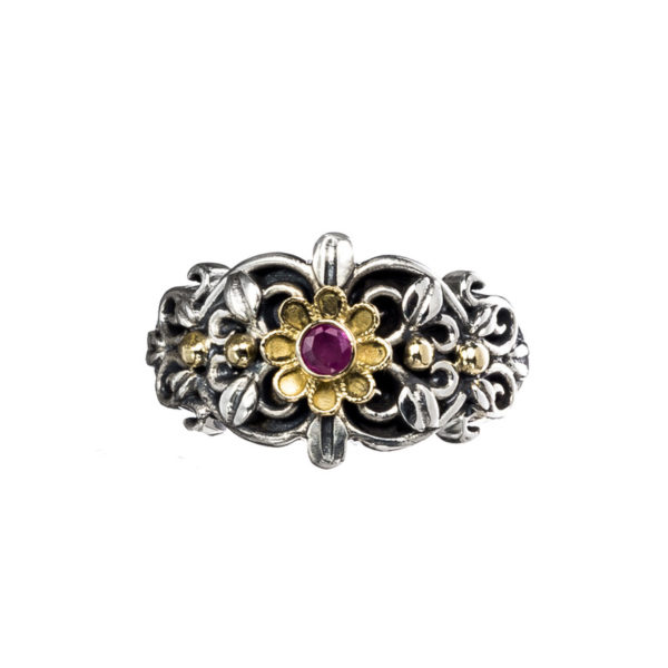 Solid 18K Gold & Silver Medieval Floral Band Ring