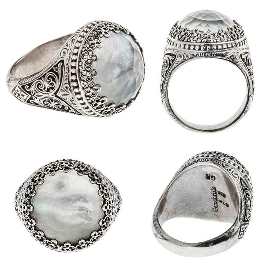 Quartz and Mother of Pearl Doublet Cocktail Ring