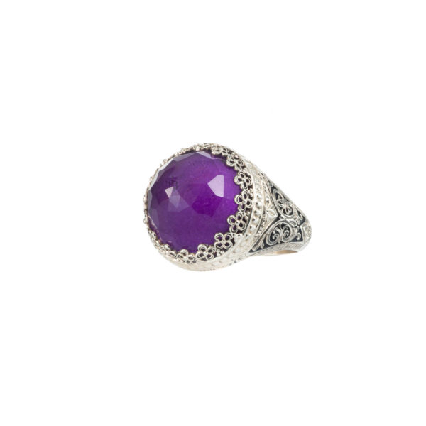 Quartz and Amethyst, or Amazonite Doublet Cocktail Ring