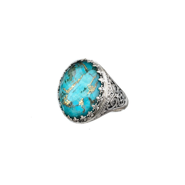 Quartz over Turquoise Doublet Oval Cocktail Ring