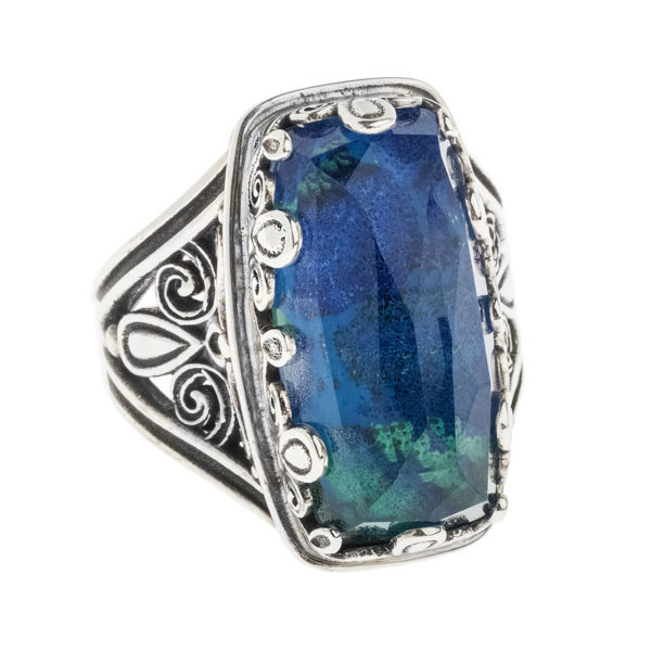 Quartz over Azurite Doublet Rectangular Cocktail Ring