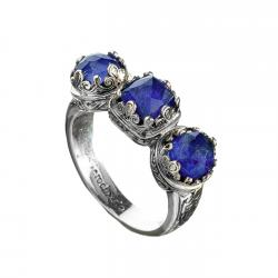 Sterling Silver Medieval Doublet Multi-Stone Band Ring