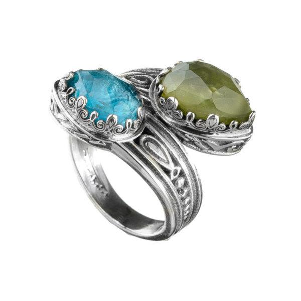 Gerochristo Sterling Silver Byzantine Bypass Doublet Wrap Ring
