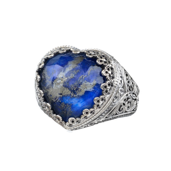 Gerochristo Quartz and Lapis Lazuli Doublet Heart Ring