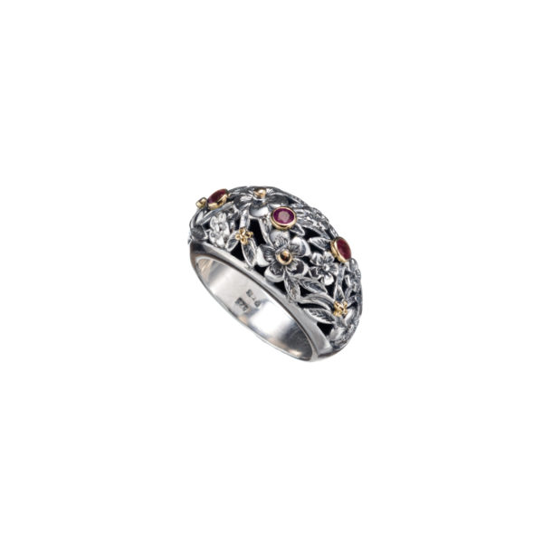 Solid 18K Gold & Sterling Silver Floral Band Ring