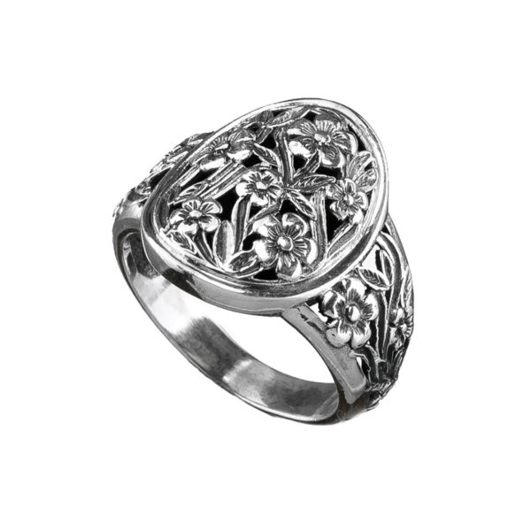 Gerochristo Sterling Silver Medieval Floral Band Ring