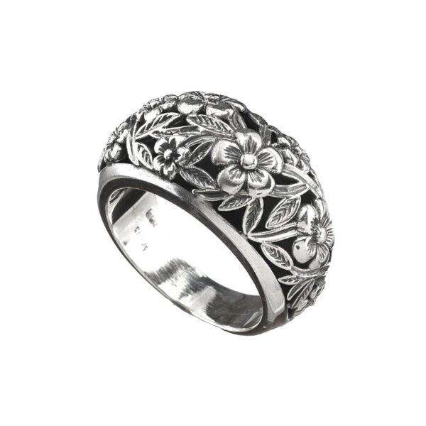 Sterling Silver Medieval Floral Band Ring