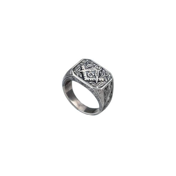 Solid Handmade Silver Masonic Band Ring