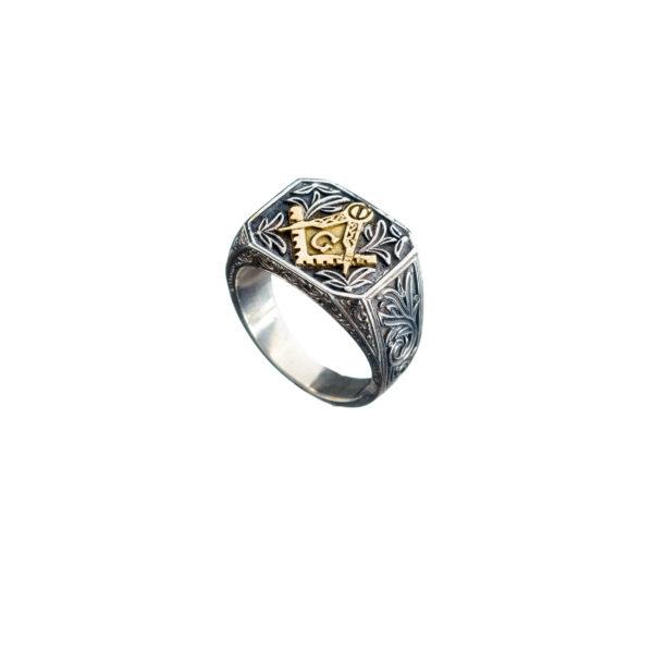 Solid 18K Gold & Silver Masonic Band Ring