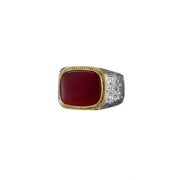 Classic Cornelian ring in 18K Gold and Sterling Silver.