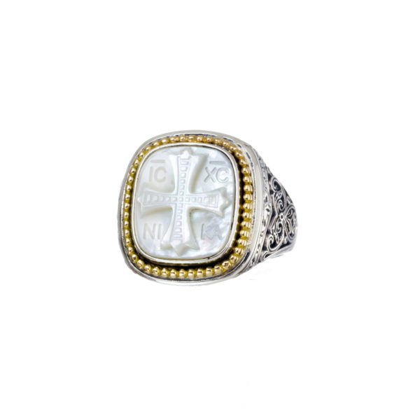 "Solid Signet ring in 18K Gold and Sterling Silver    <h1 class=""product_title entry-title""></h1>"