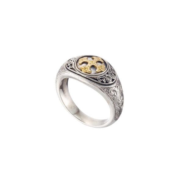 Solid 18K Gold & Silver Byzantine Cross Ring.