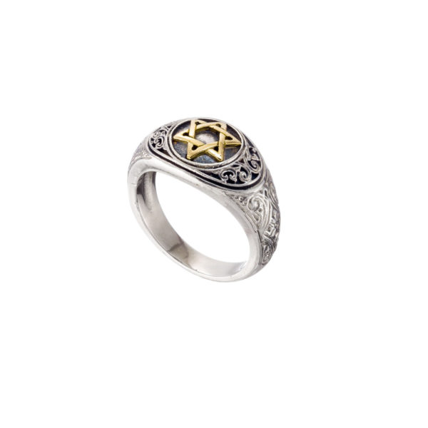 Solid 18K Gold & Silver star of David Ring.