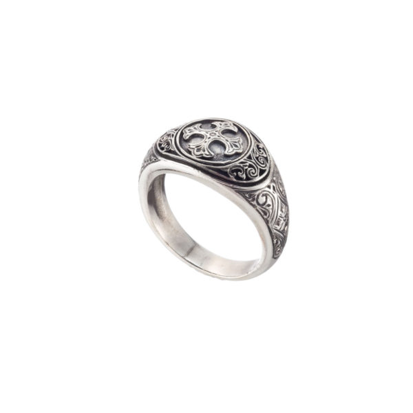 Solid Silver Byzantine Cross Ring.