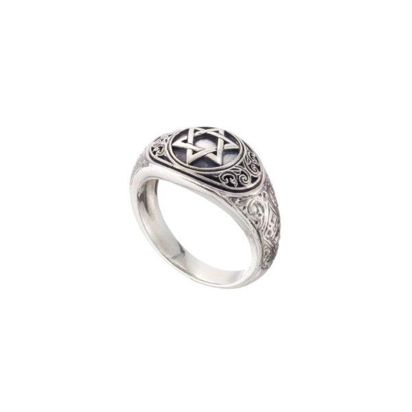 Solid Silver Byzantine star of David Ring.