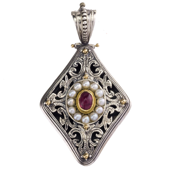 Silver 925 and 18K Gold, handmade, Byzantine pendant by Gerochristo with Ruby and Pearls.
