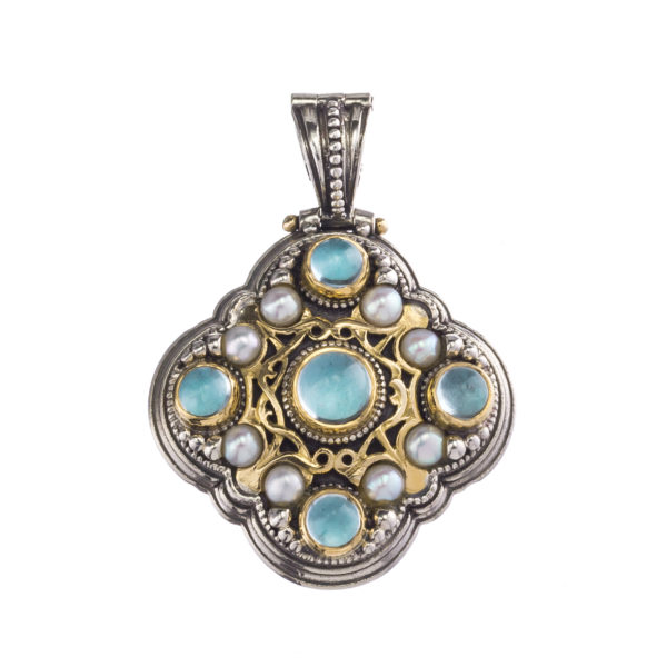 Silver 925 and 18K Gold, handmade, Byzantine pendant by Gerochristo with Aquamarine stone and Pearls.