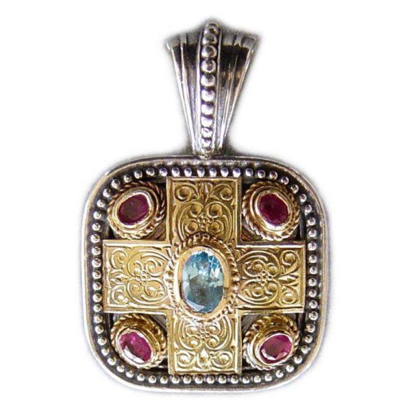 Gerochristo Solid 18K Gold, Sterling Silver, Topaz & Rubies - Medieval-Byzantine Pendant