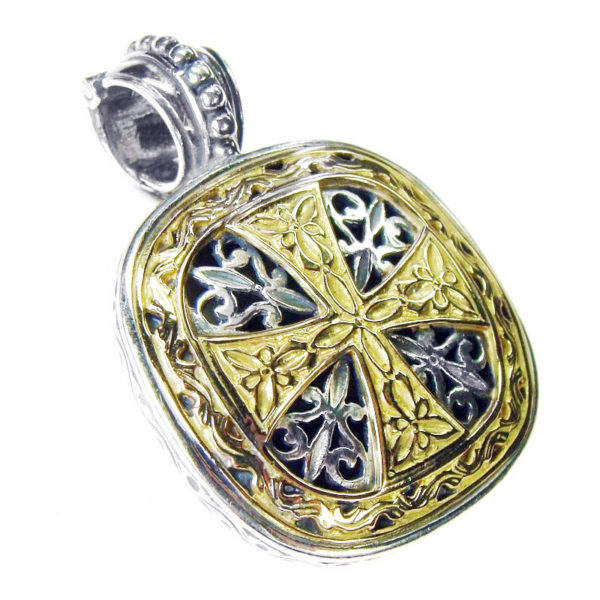 Gerochristo Solid 18K Gold & Silver - Medieval Byzantine Cross Pendant