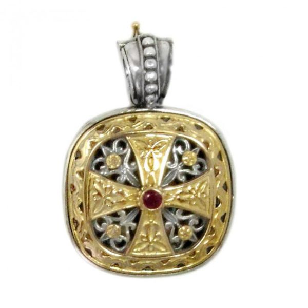 Gerochristo Solid 18K Gold, Silver classy Byzantine-Medieval cross pendant, decorated with a ruby