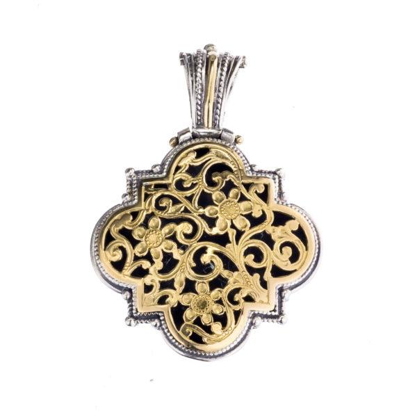 Solid 18K Gold & Silver Medieval Byzantine Filigree Floral Pendant