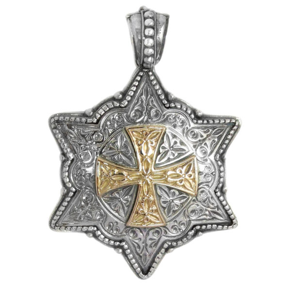 Gerochristo Solid 18K Gold and Silver Medieval Hexagonal Pendant with Cross