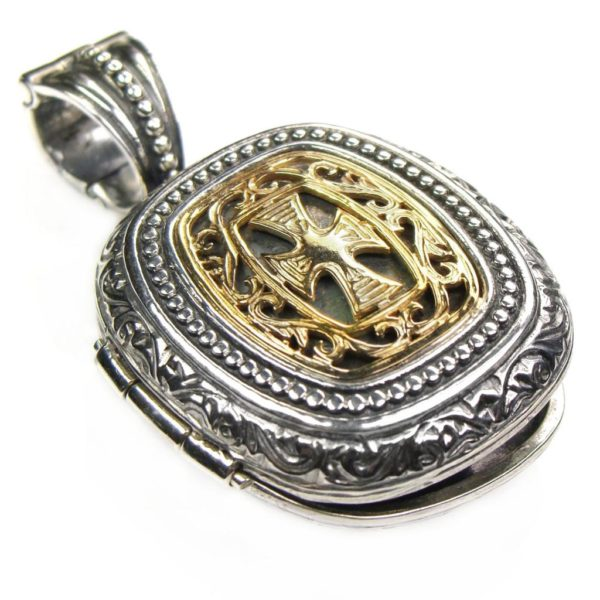 Gerochristo Solid 18K Gold & Silver Medieval-Byzantine Locket Pendant with Cross