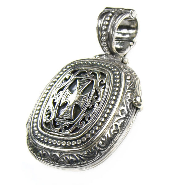 Gerochristo Medieval-Byzantine Sterling Silver Locket Pendant with a Cross