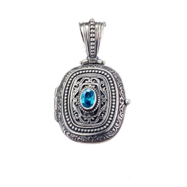 Sterling Silver & Zircon - Medieval Byzantine Locket Pendant