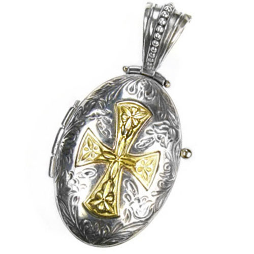 Gerochristo Solid 18K Gold & Silver Engraved Locket Pendant with Maltese Cross