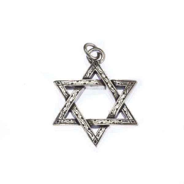 Sterling Silver Star of David Pendant.