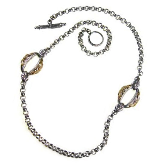 Solid 18K Gold & Silver ~ Byzantine Medieval Station Necklace