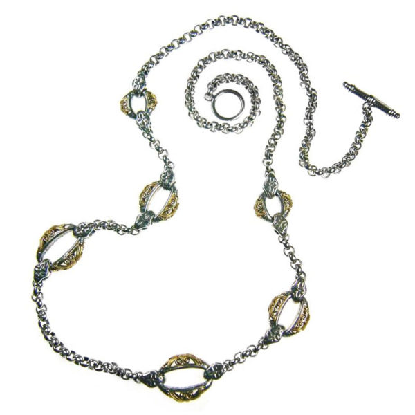 Solid 14K Gold & Silver ~ Byzantine Medieval Station Necklace