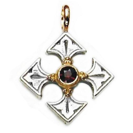 Gerochristo Solid 18K Gold, Silver & Garnet Byzantine Medieval Cross Pendant
