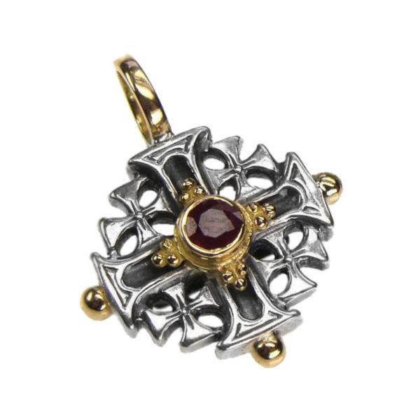 Gerochristo Solid 18K Gold, Sterling Silver Byzantine Medieval Cross Pendant