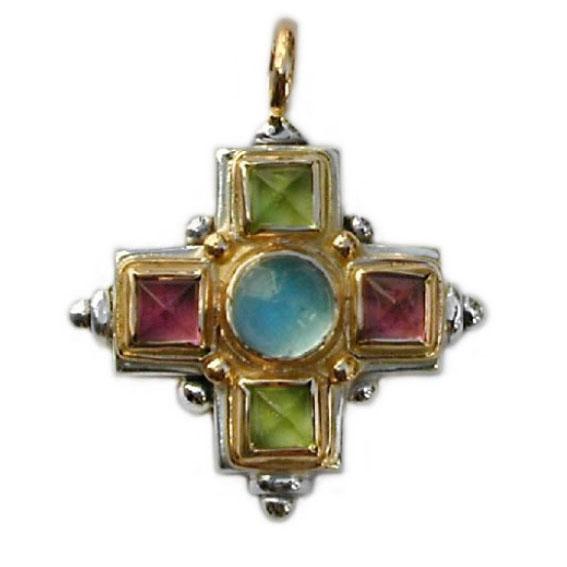 Gerochristo 18K Gold, Silver & Stones Multicolor Medieval-Byzantine Cross Pendant