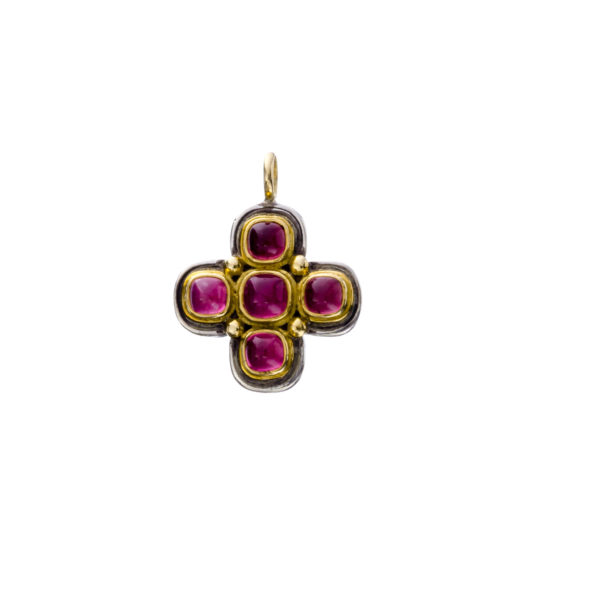 18K Gold and Silver 925, Byzantine Cross with Pink Tourmaline stone by Gerochristo.