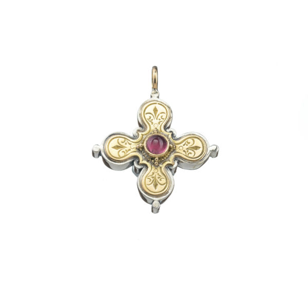 Gerochristo Solid 18K Gold, Sterling Silver Byzantine-Medieval Cross Pendant with Pink Tourmaline