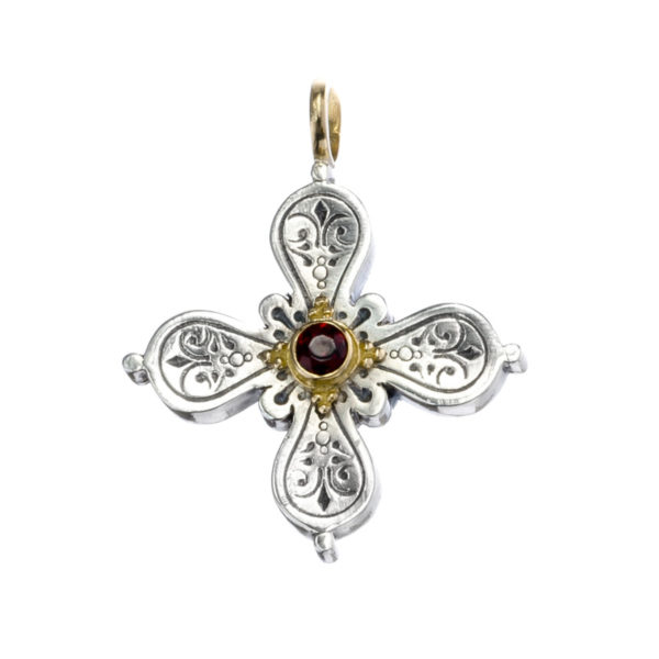 Gerochristo Solid 18K Gold & Sterling Silver Byzantine-Medieval Cross Pendantwith Ruby Gemstone