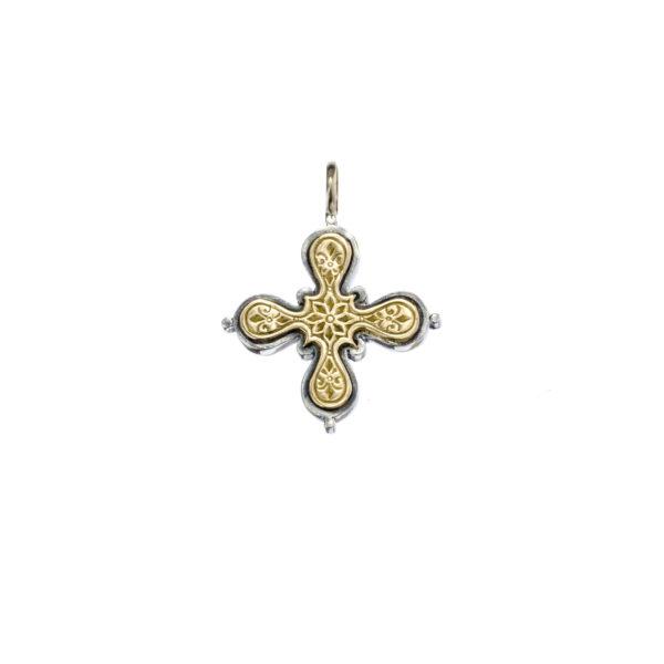 Gerochristo Solid 18K Gold & Sterling Silver Byzantine Medieval Cross Pendant