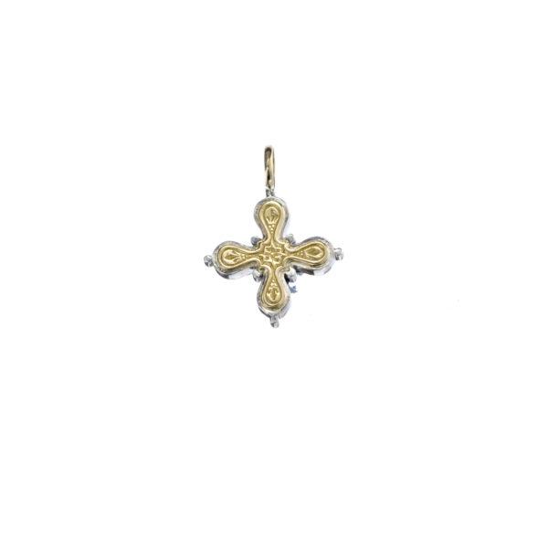 Gerochristo Solid 18K Gold & Sterling Silver Byzantine Cross Pendant