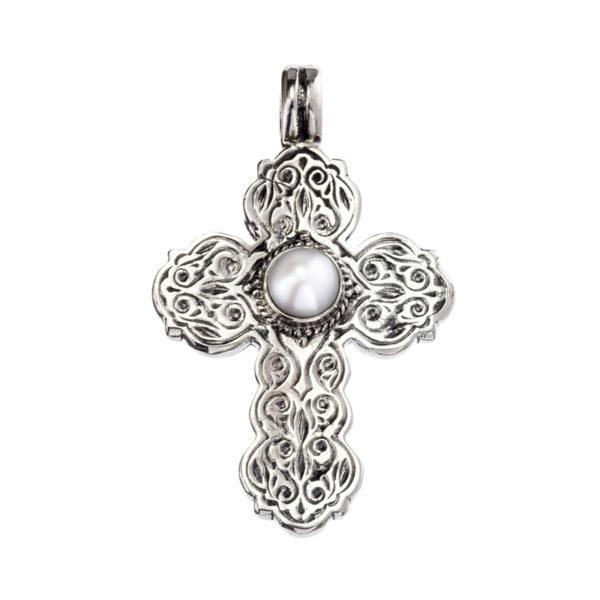 Gerochristo Sterling Silver & Pearl Byzantine Cross Pendant