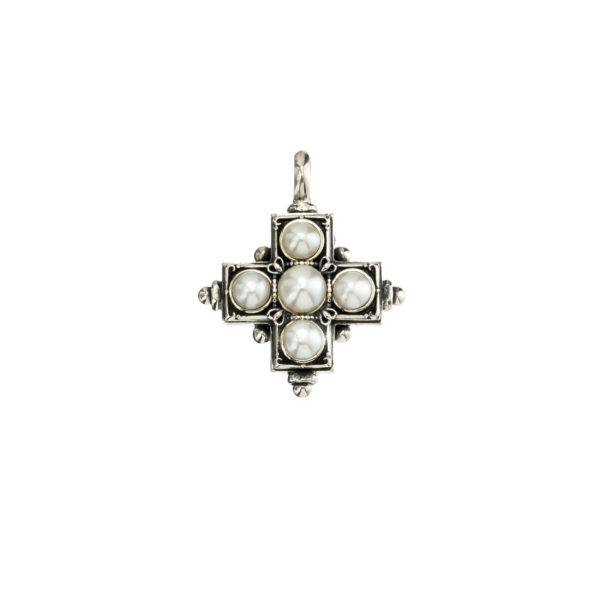 Gerochristo Sterling Silver & Pearls Byzantine-Medieval Cross Pendant