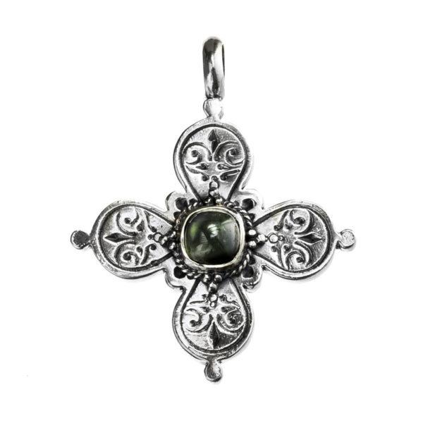 Gerochristo Sterling Silver & Zircon Byzantine-Medieval Cross Pendant