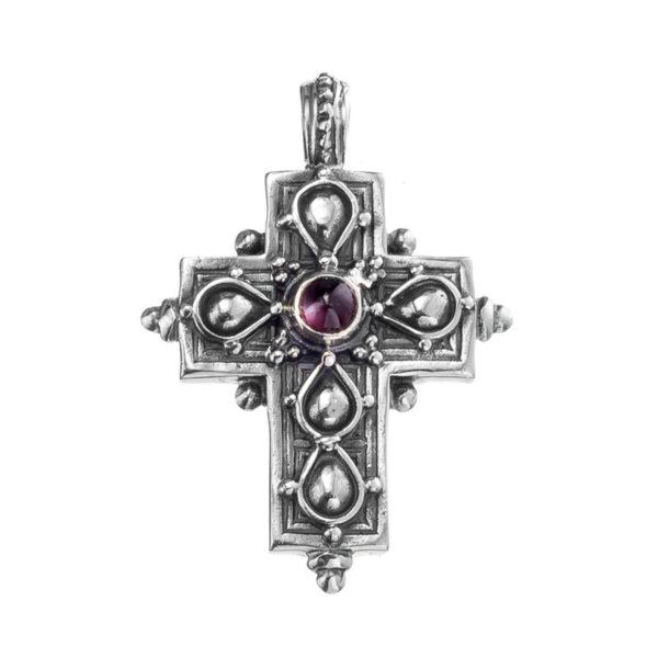 Gerochristo Sterling Silver & Garnet Byzantine-Medieval Cross Pendant