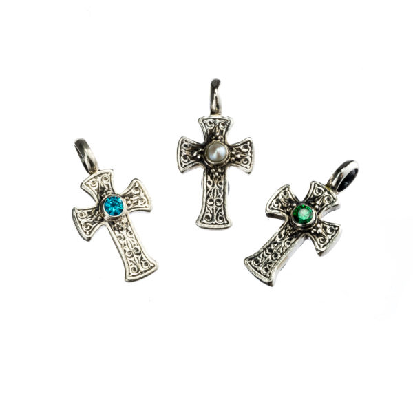 Silver 925, handmade, Byzantine, Gerochristo cross with a genuine center stone.