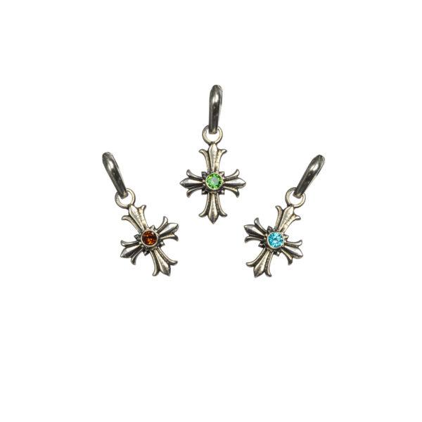 Gerochristo Sterling Silver Medieval Fleur de Lis Cross Pendant