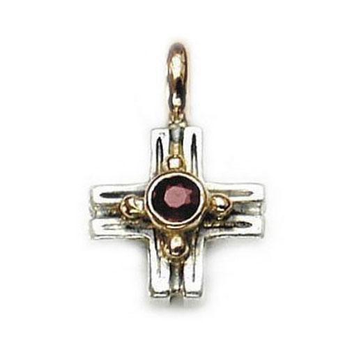 Gerochristo Solid 18K Gold, Sterling Silver & Garnet Greek Cross Pendant