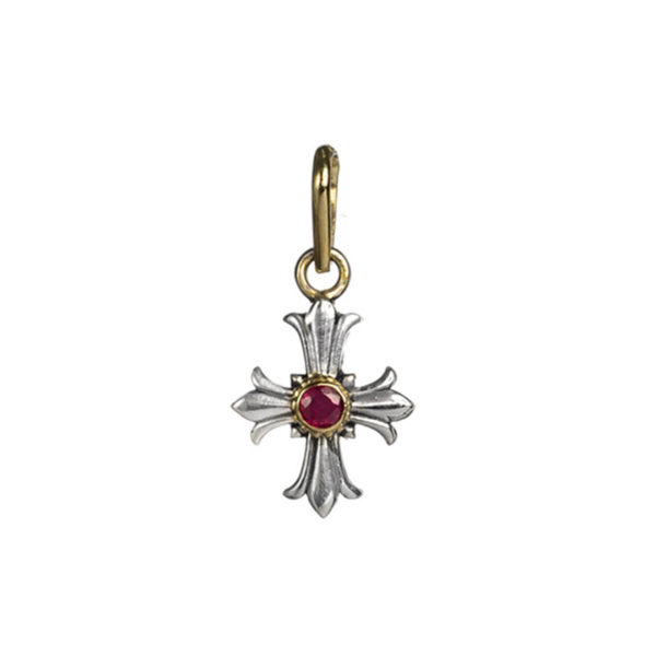 Gerochristo Solid 18K Gold and Sterling Silver small fleur de lis cross with Ruby